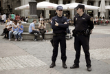 French gendarmes on patrol in Madrid