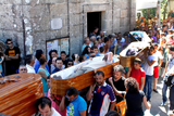 Pontevedra fiesta features locals in coffins being paraded through the streets